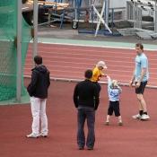 rozcvička před závodem